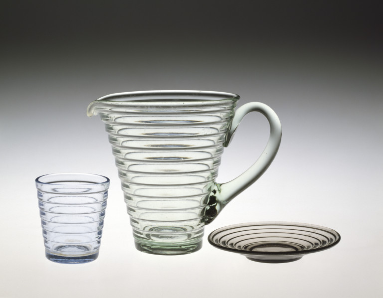 C.228-1987; C.228A-1987; C.228B-1987 Jug, tumbler & plate - from the Bölgeblick set; designed by Aino Aalto (1894 - 49; for Karhula glassworks; Finnish; designed in 1932, made 1932 - 55.